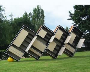 Bubble Trouble, 2008, Wooden cupboards, ca. 720 x 230 x 55 cm, Ding Nova, Galerie Gusenmayer, Deurle, Belgium 2008