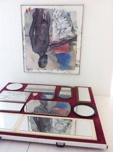 Reflex-Baselix, 2011, found objects (flea-market), rolls, 33 x 244 x 204,5 cm, Extradosis, Kunsthalle zu Kiel, 2011