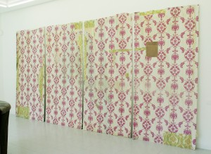 Untitled (wall), 2008, plasterboard, wallpater, acrylic paint, 520 x 250 cm, Ding Nova, Galerie Grusenmayer, Deurle, Belgium 2008+