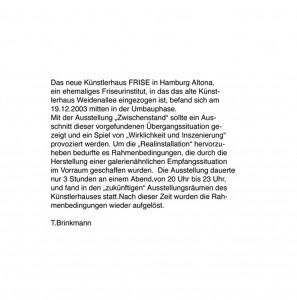 Zwischenstand, Text, 2003