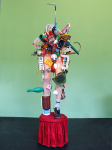 11 Pimmeltony, 2010, found objects, plastic legs, bulb, light, 199 x 64 x 96 cm