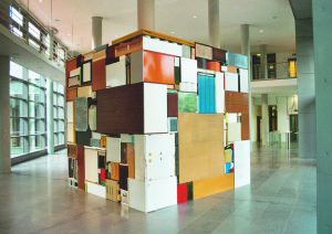 Buero Buero ( view 2 ), 2002, all used objects found in the old LVA Hamburg, 3,6 x 3,6 x 3,6 m