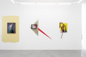 Exhibition view, with Basini, 2014, C-Print, 75 x 57 cm :: Tritello, 2014, photo installtion, 150 x 160 x 7 cm :: Braquial Rar, 2014, photo Installation, 113 x 55 x 8 cmJunk de Luxe, Hopstreet Gallery, Brussel, Belgium, 2014