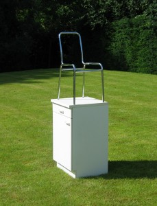 Silverchair, 2008, kitchen cupboard, metal chair,  Galerie Grusenmayer, Deurle, Belgium 2008