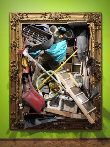 Barrocco Tropical a, 2012, Old Golden Frame and  found Objects from the streets of mexico city, 2,8 x 2 x 1,5 m, Museo Nacional de San Carlos Mexico City