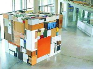 Buero Buero , 2002, all used objects found in the old LVA Hamburg, 3,6 x 3,6 x 3,6 m
