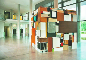 Buero Buero  ( view 3 ), 2002, all used objects found in the old LVA Hamburg, 3,6 x 3,6 x 3,6 m