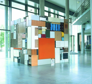 Buero Buero  ( view 5 ), 2002, all used objects found in the old LVA Hamburg, 3,6 x 3,6 x 3,6 m