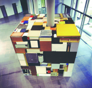 Buero Buero  ( view 6 ), 2002, all used objects found in the old LVA Hamburg, 3,6 x 3,6 x 3,6 m