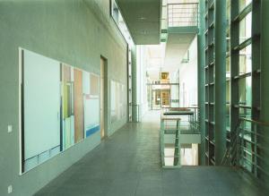Buero Buero  ( view into the magistrale of the new LVA ), 2002, Inkjetprints on tarp, each 170 x 200 cm