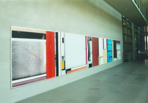 From the serie Buero Buero , View into the Magistrale ( Detail ), 2002, Inkjetprints on Tarp, each 170 x 200 cm, In the new LVA Hamburg