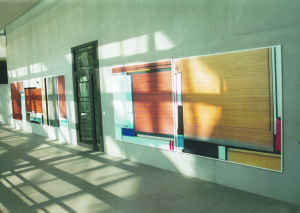 From the serie Buero Buero , View into the Magistrale( Detail 3 ), 2002, Inkjetprints on Tarp, each 170 x 200 cm, In the new LVA Hamburg