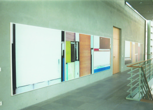 From the serie Buero Buero , View into the Magistrale( Detail 4), 2002, Inkjetprints on Tarp, each 170 x 200 cm, In the new LVA Hamburg