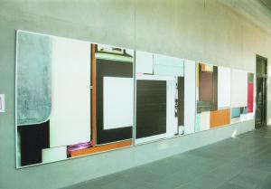 From the serie Buero Buero , View into the Magistrale( Detail 5 ), 2002, Inkjetprints on Tarp, each 170 x 200 cm, In the new LVA Hamburg