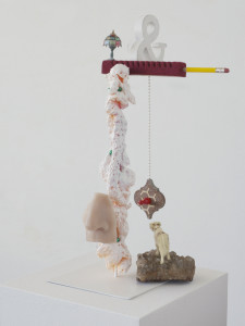 Cow the hill, 2019, found objects + colour + resin + steel, 41 x 27 x 21 cm