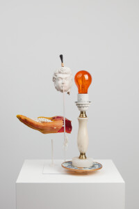 Blowrangerie, 2019, 41 x 30 x 29 cm, found objects + resin + colour + steel-A