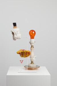 Blowrangerie, 2019, 41 x 30 x 29 cm, found objects + resin + colour + steel-B